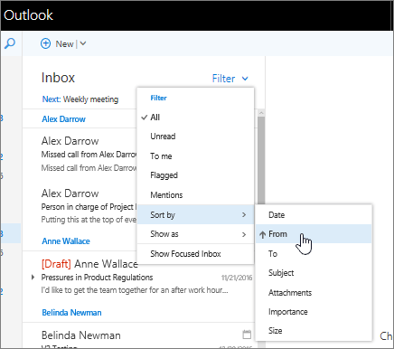 Screenshot of Inbox, with Filter > Sort by > From selected.