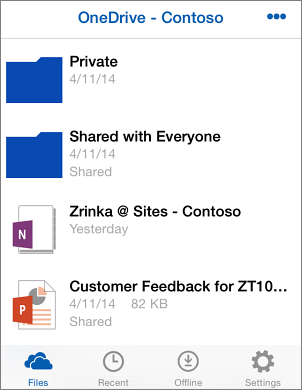 Screenshot of files in the OneDrive for Business app