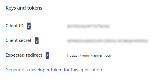 Yammer app page showing link to get token