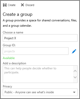 Screenshot of typing a name and clicking Creat to create a goup from OneDrive for Business