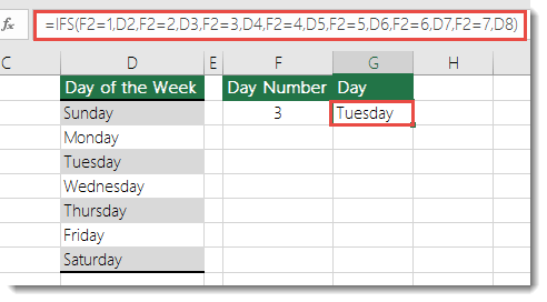 IFS function - Days of the Week example - Formula in cell G2 is 	=IFS(F2=1,D2,F2=2,D3,F2=3,D4,F2=4,D5,F2=5,D6,F2=6,D7,F2=7,D8)