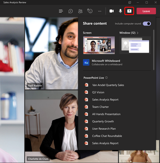 New share content in meeting