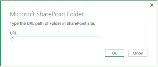 Excel Power BI SharePoint Folder connector dialog