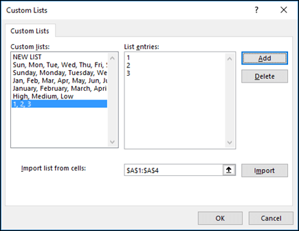 Manually add custom list items by typing them in the Edit Custom List dialog and pressing Add