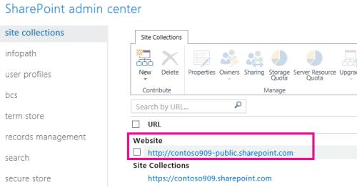 Public website in SharePoint Admin Center > Site Collections