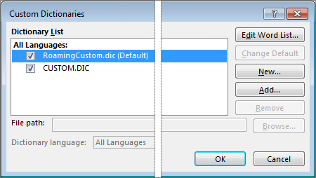 The Custom Dictionary dialog