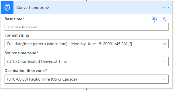 Convert time zone action in Power Automate