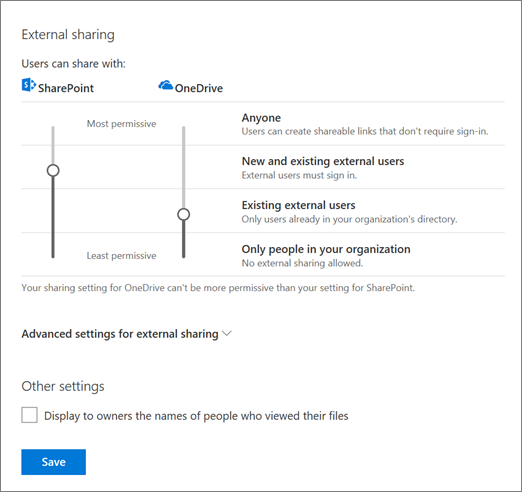 Sharing settings in the OneDrive admin center
