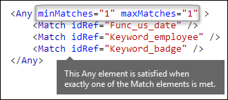 XML markup showing Any element wtih minMatches and maxMatches attributes