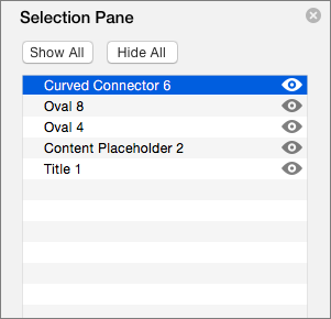 Shows the Selection Pane in PowerPoint 2016 for Mac