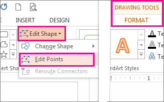 Edit Points command accessed from Edit Shapes on the Drawing Tools Format tab