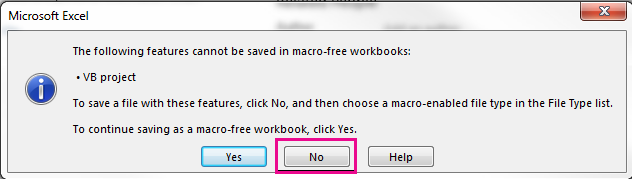 In the VB project dialog box, click No.