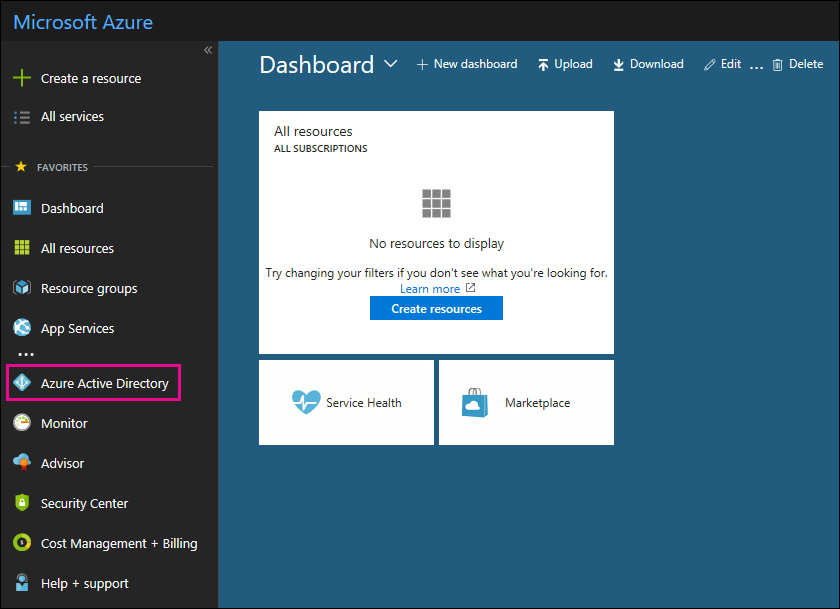 Click Azure Active Directory in the left navigation pane in the Azure portal.