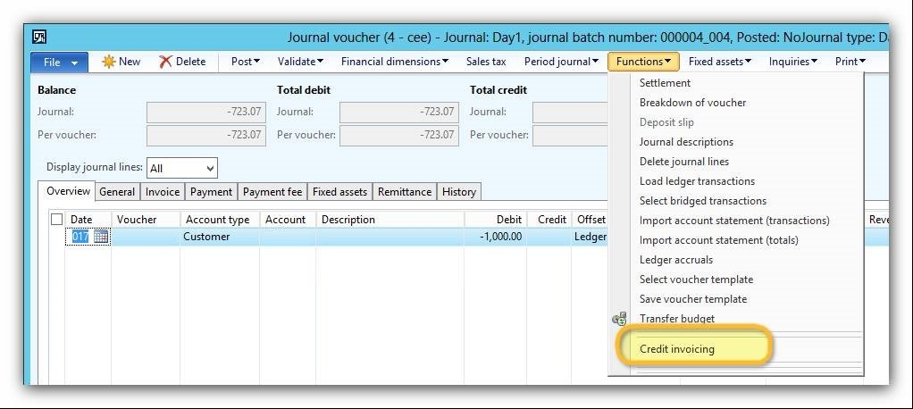 This image shows you how to differ TD01 and TD05 document types by using the Credit invoicing functionality.