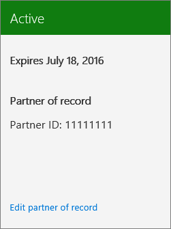 Screenshot showing a Partner ID associated with an Office 365 subscription