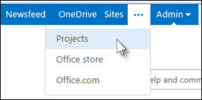 Click the ... button in the blue bar, and then click Projects.