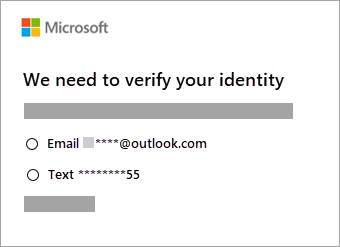 Screenshot of options to verify identity