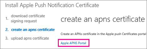 Go to the Apple push certificate portal to create the certificate.