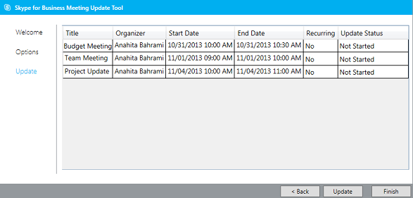 Screen shot of meeting migration tool update