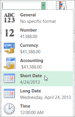 Short Date command on the Number Format gallery