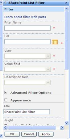 The tool pane for the SharePoint List Filter Web Part
