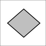 Shows a diamond shape.