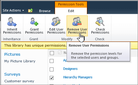The remove user permissions button