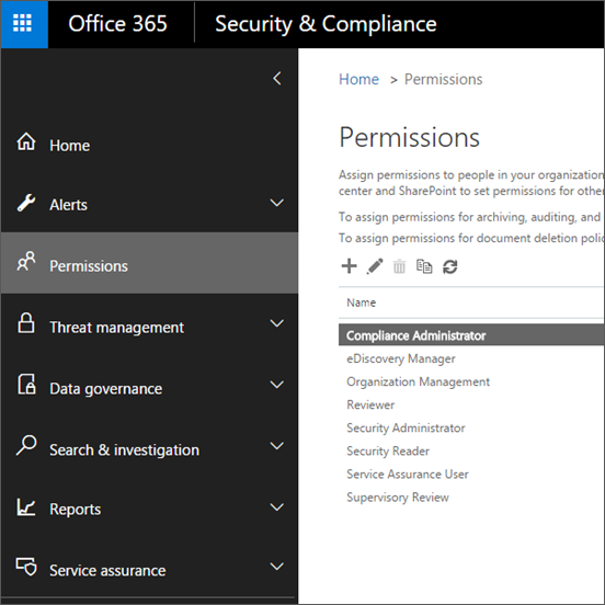 Permissions page in the Office 365 Security & Compliance Center