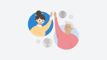A drawing of two people waving at each other