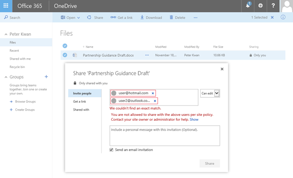 Users receive this error when attempting to share a OneDrive document to a restricted domain address.