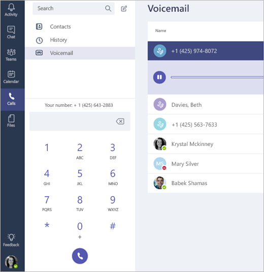 Calls screen with contacts, history, voicemail, and dial pad