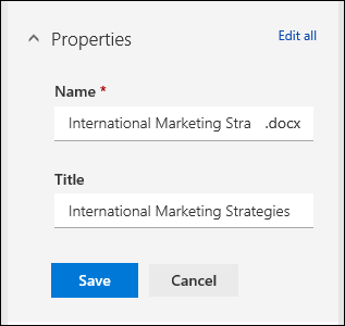 Edit all properties for a file in a document library