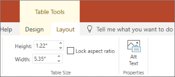 Alt Text button on the ribbon for a table in PowerPoint Online.
