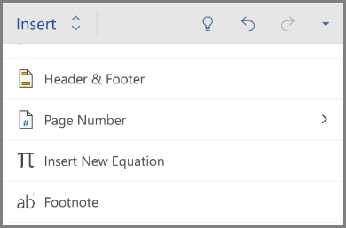 Showing Insert equation under Insert menu