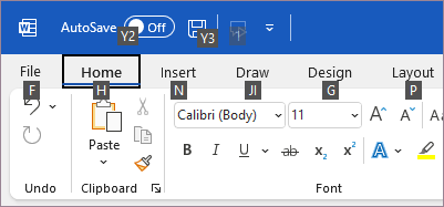 Keyboard command hints