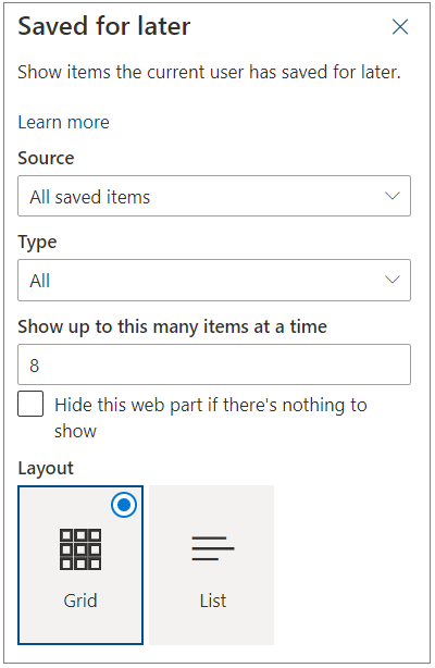 Saved for later property pane