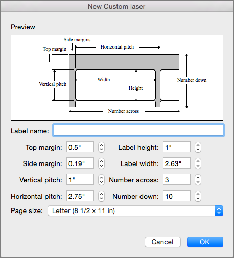 Set and adjust the measurements to match the labels you intend to print.