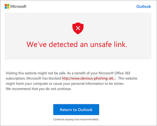 A screenshot of the unsafe link warning screen