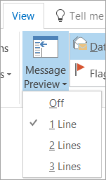 Message Preview options on the View tab