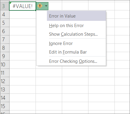 Dropdown list appearing next to Trace Value icon