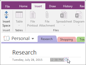 Screenshot of how to change the time stamp on a page in OneNote 2016.