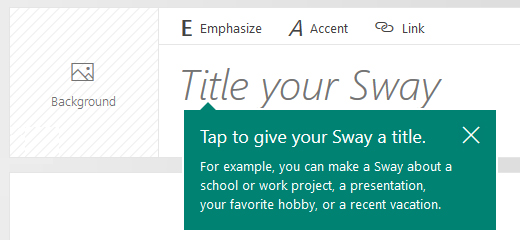 Title prompt on the Sway Storyline