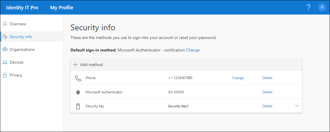 Security info page, with all registered methods shown