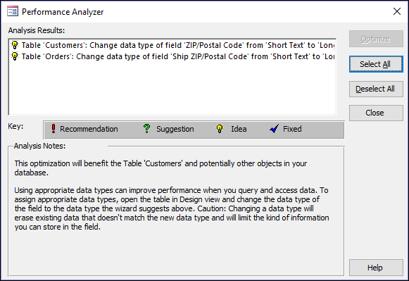Performance Analyzer results dialog after being run on an Access database.