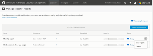 Screenshot shows the Manage snapshot reports page in the Productivity app discovery section of the Office 365 Security & Compliance Center. For reports in a Ready state, the View report option is available as well as the Delete option.