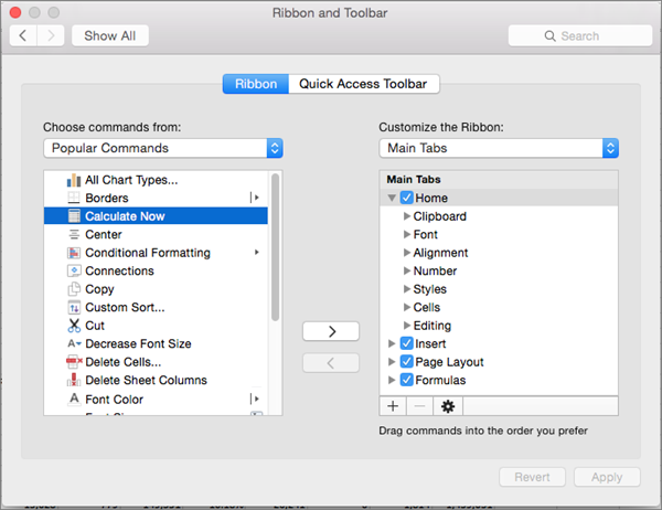Customize the Ribbon and toolbars in Office for Mac - Office
