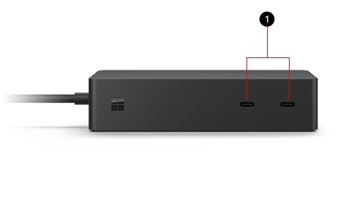 Surface Dock 2 with the USB-ports labeled 1 to correspond to the text key following the image.