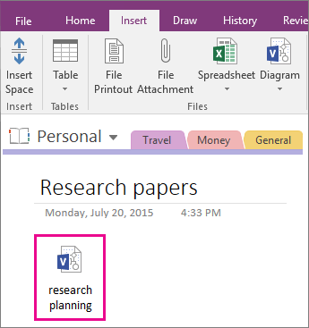 Screenshot of how to attach a Visio file to a page in OneNote 2016.