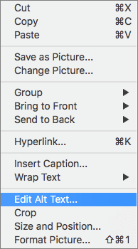 Alt text option in the context menu in Word
