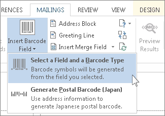 Command for inserting a barcode